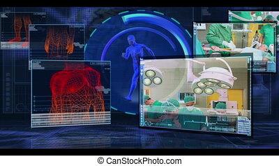 interface, v, numérique, projection, monde médical