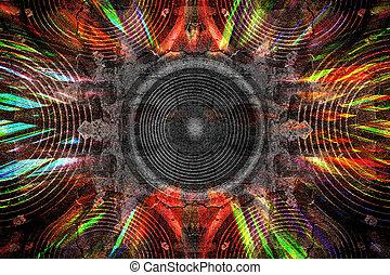 interlocuteurs, audio, grunge, fond