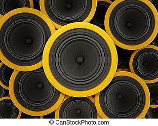 interlocuteurs, illustration, arrière-plan., noir, jaune, 3d