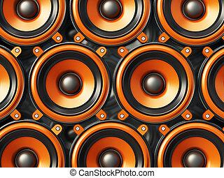 interlocuteurs, illustration, arrière-plan., noir, orange, audio, 3d