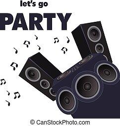 interlocuteurs, image, lets, vecteur, fond, aller, fête, audio