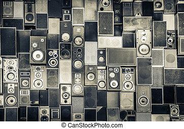 interlocuteurs, mur, vendange, style, musique, monochrome