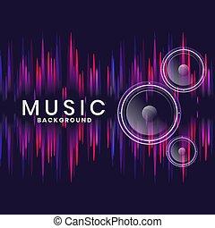 interlocuteurs, musique, néon, style, fond, conception