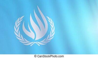 international, flottements, nations, conseil, drapeau, humain, wind., unhrc., droits, uni