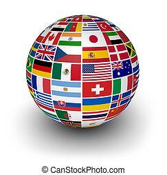 international, globe, drapeaux, mondiale
