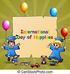 international, gosses, jour, remise de diplomes, gabarit, conception, bonheur