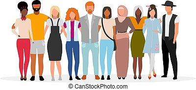 international, hommes, unité, caucasien, amis, dessin animé, société, plat, illustration., multiculturel, collaboration., étreindre, noir, characters., vecteur, femmes, diversity., communauté, multiracial, gens