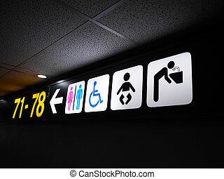 international, information, aéroport, signe