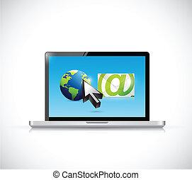 international, informatique, email, réseau