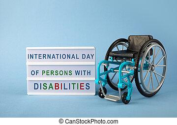 international, jour, fauteuil roulant, personnes, bleu, disabilities., arrière-plan.