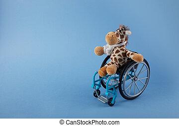 international, jour, fauteuil roulant, personnes, wirh, disabilities., bleu, jouet, arrière-plan.