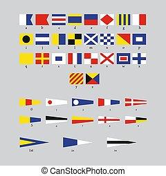 international, morse, alphabet, signal, gris, drapeaux, nautique, fond, maritime, isolé