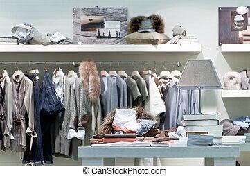 interne, vêtant magasin, vente au détail