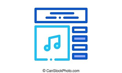 internet, musique, animation, icône, liste, jeu