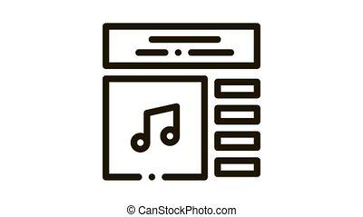 internet, musique, jeu, icône, liste, animation