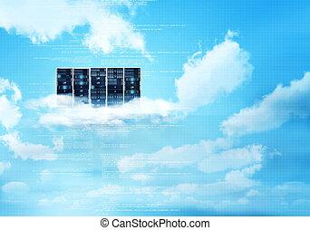 internet, nuage, serveur