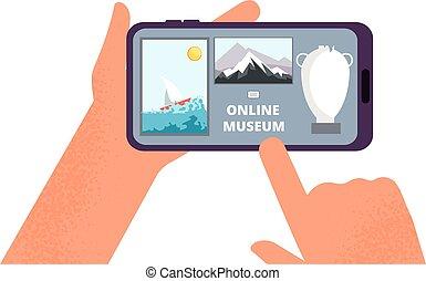 internet., tenue, exposition, guide, app, vecteur, tableaux, illustration, ou, galerie, ligne, gratuite, tour, art, smartphone, museum., mains
