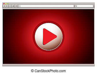 internet, vidéo, rouges, navigateur