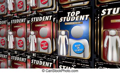 interprète, étudiant, render, sommet, illustration, apprentissage, education, mieux, 3d