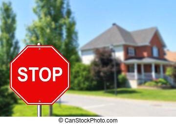 intersection, signe, arrêt, rue