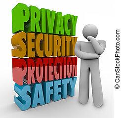 intimité, penseur, sûreté protection, mots, sécurité, 3d