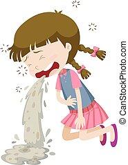 intoxication alimentaire, petite fille, vomissements