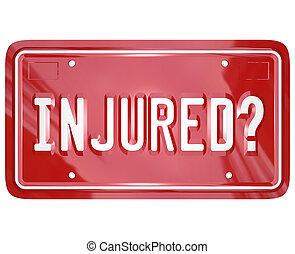 inured, avocat, accident, autoriser plat, voiture, avocat, procès