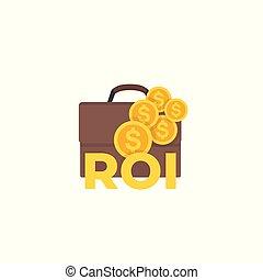 investissement, icône, retour, vecteur, roi
