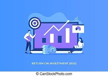 investissement, plat, concept, illustration, retour