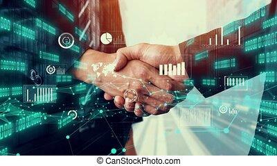 investissement, poignée main, infographie, données, business, imaginatif, visuel
