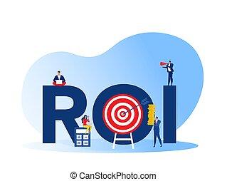 investissement, revenu, business, profit, croissance, investissements, retour, roi, commercialisation, marché, finance, plat, illustration, vecteur