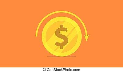 investissement, roi, concept, icône, vecteur, cercle, flèche, or, retour, argent, -, rouler