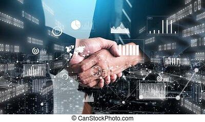 investissement, visuel, imaginatif, données, graphique, informatique, poignée main, business