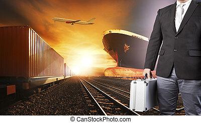 investisseur, industrie, business, logistique, avion, bateau, transport, fond, au-dessus, port, récipient, homme, fret, cargaison, usage, voler, trains