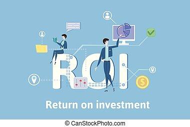investment., plat, concept, retour, coloré, bleu, illustration, icons., arrière-plan., vecteur, roi, table, lettres, keywords