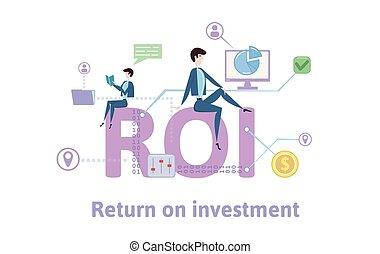 investment., plat, concept, retour, coloré, illustration, icons., arrière-plan., vecteur, roi, table, lettres, blanc, keywords