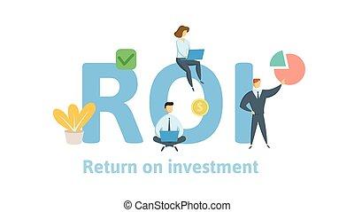investment., plat, concept, retour, illustration., lettres, roi, isolé, arrière-plan., vecteur, icons., blanc, keywords