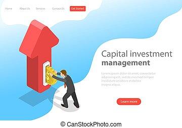 investment., plat, isométrique, financier, atterrissage, vecteur, gabarit, page