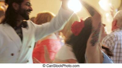 invités mariage, ensemble, danse