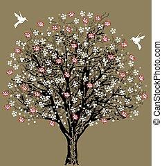 invitation, arbre, retro, carte, mariage, stylique floral, vendange, élégant