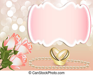 invitation, bande, mariage, perle, rose, anneau
