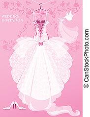 invitation, card., robe, nuptial, mariage, arrière-plan., chaussures, voile, rose