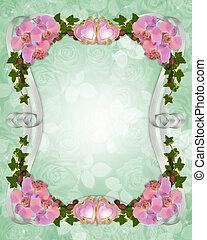 invitation, frontière, mariage, lierre, orchidées