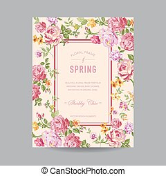 invitation, mariage, bébé, carte, -, floral, douche, vecteur, cadre, vendange