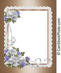 invitation, noce blanche, roses