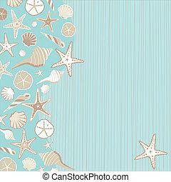 invitation, seashell, fête, plage