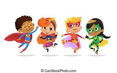 invitations, mascot., multiracial, gosse, blanc, coloré, caractères, vecteur, costumes, fête, isolé, superheroes, filles, toile, jump., dessin animé, heureux, arrière-plan., garçons, porter