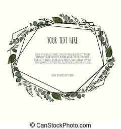 invite., frame., affiche, vecteur, floral, géométrique, botanique