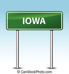 iowa, vert, signe