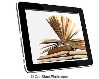 ipad, concept, livres, 3d